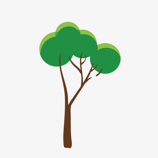 卡通手绘可爱绿色大树
