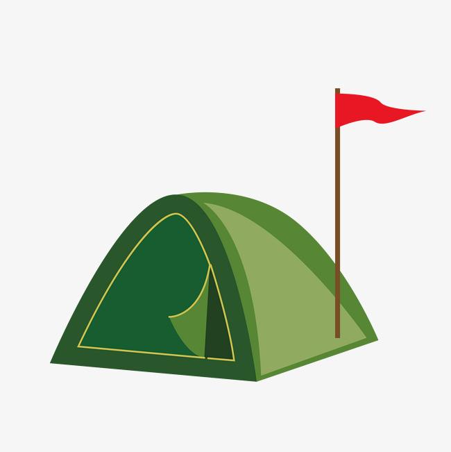 卡通手绘绿色帐篷