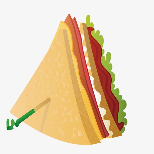 手绘卡通培根三明治图片