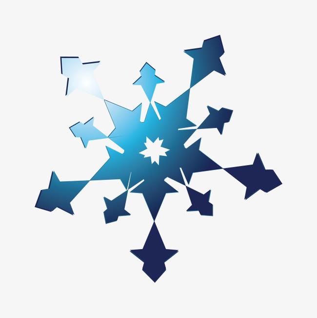 五角蓝色雪花剪纸