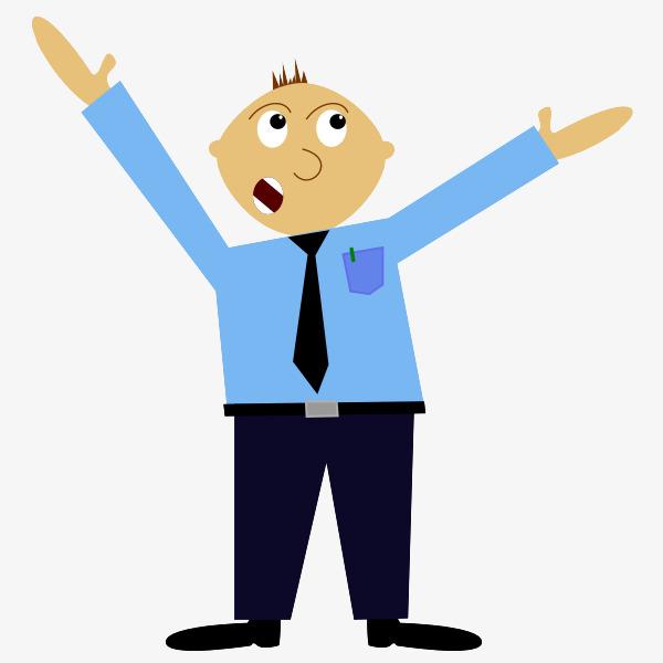 卡通穿制服举手的保安_png素材免费下载_ 600*600像素图片