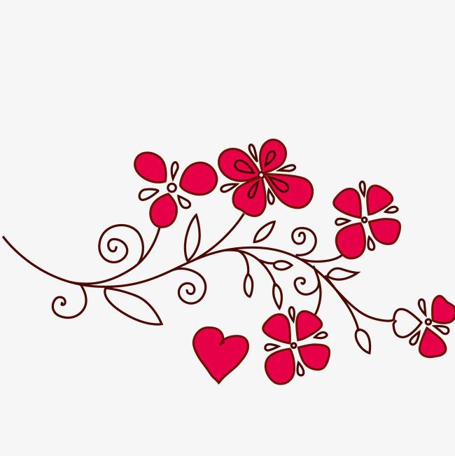 手绘卡通花瓣线条装饰海报设计