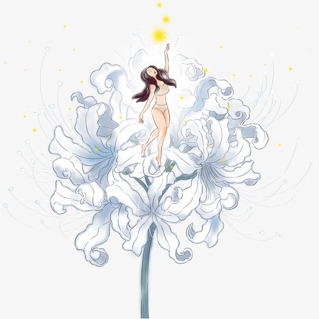手绘花仙子装饰图案