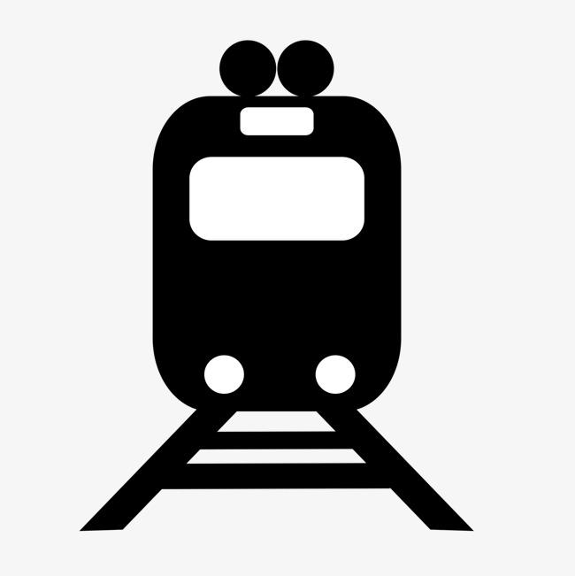 黑色手绘的火车剪影