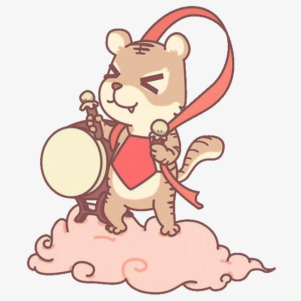 手绘卡通装饰可爱小动物海报设计打鼓的老虎