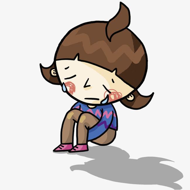 手绘伤心的姑娘