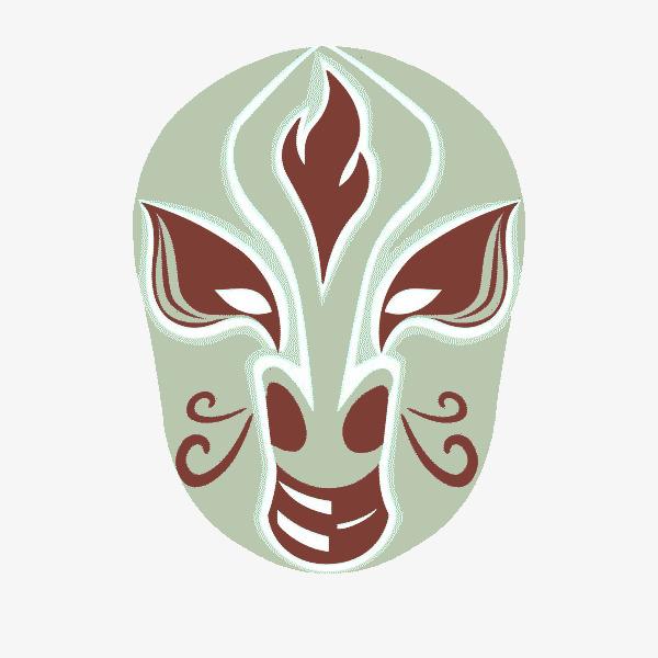 绿色花纹面具