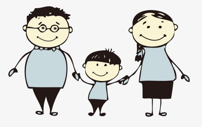 卡通一家人爱心温馨幸福牵手