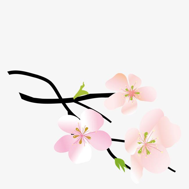 手绘卡通桃花