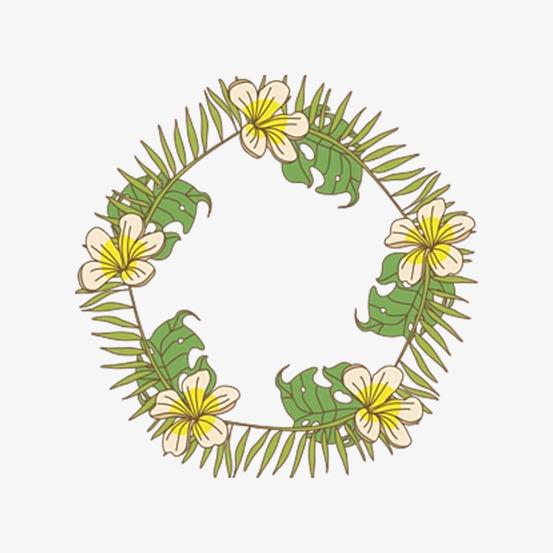 手绘植物花卉花环