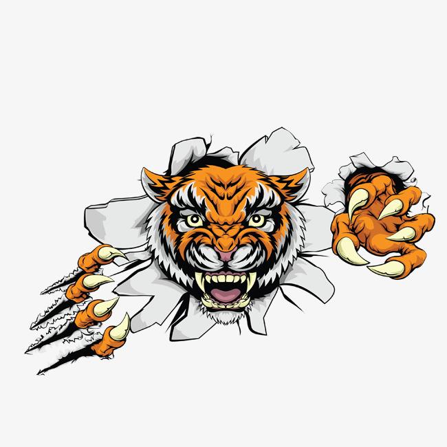 卡通 手绘 彩色 动物 百兽之王 野兽 恶虎 卡通老虎头png免费下载