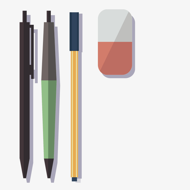 彩色手绘的文具免抠