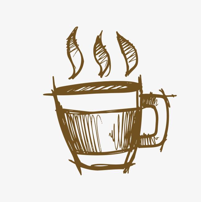 手绘咖啡杯咖啡手绘咖啡创意咖啡手绘杯子素描杯子素描插画