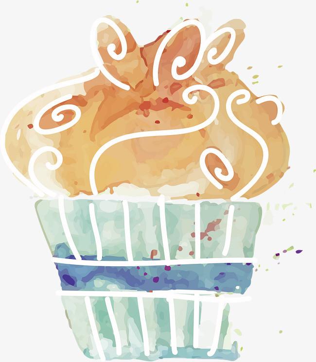 手绘水彩甜点