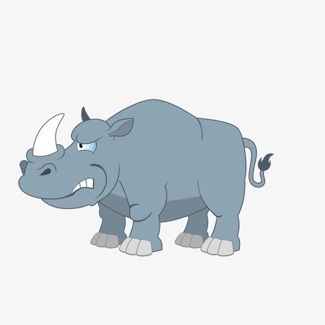 手绘卡通蓝色犀牛