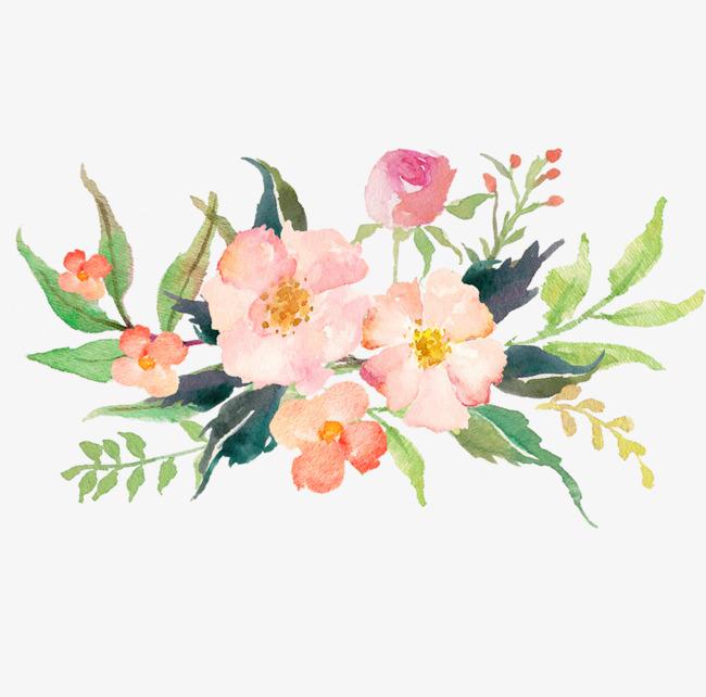 手绘水彩鲜花装饰画