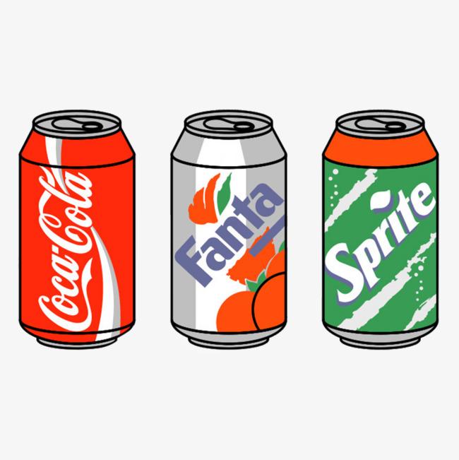 卡通手绘可口可乐易拉罐瓶