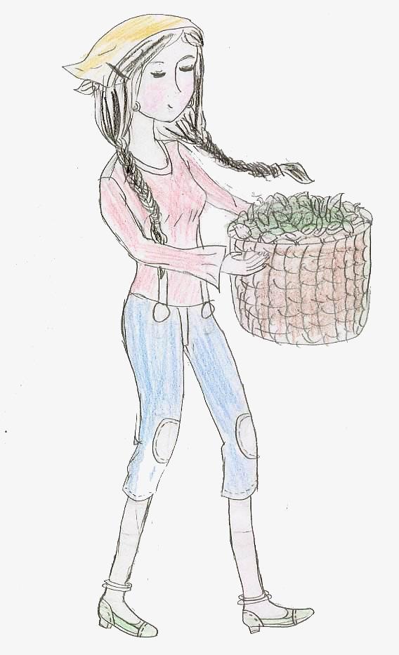 可爱风格采茶女手绘图案