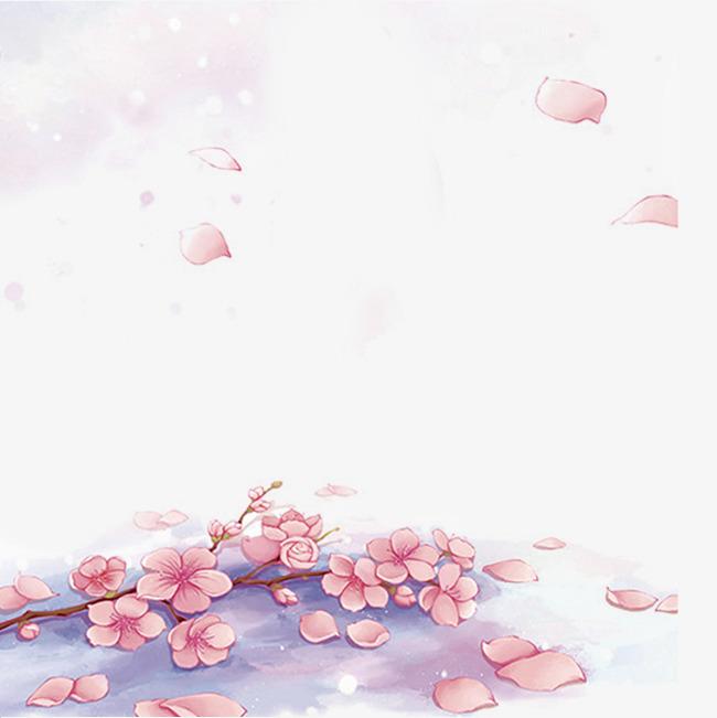 唯美手绘樱花落花设计素材