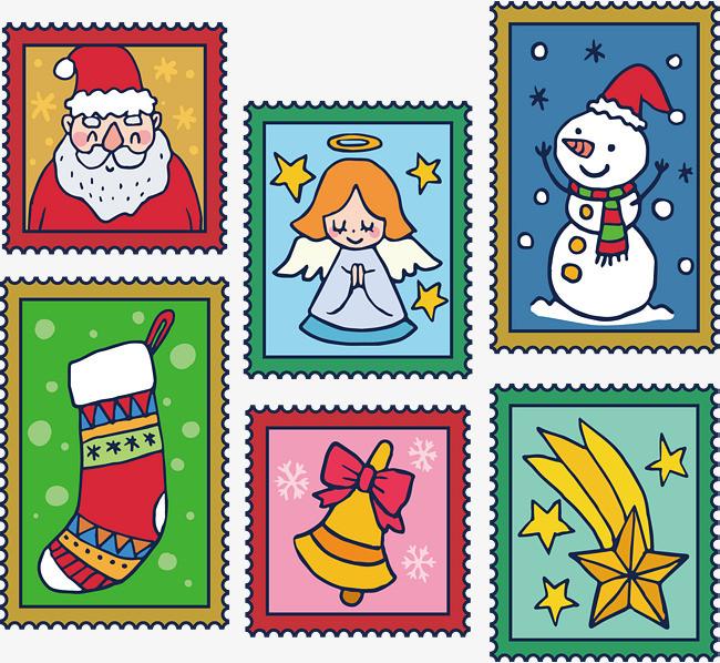 彩色手绘圣诞邮票