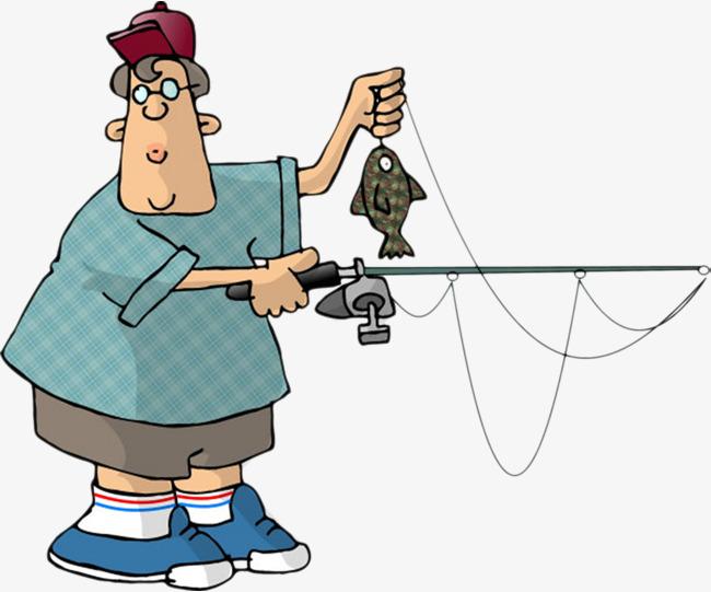 卡通手绘胖子钓鱼