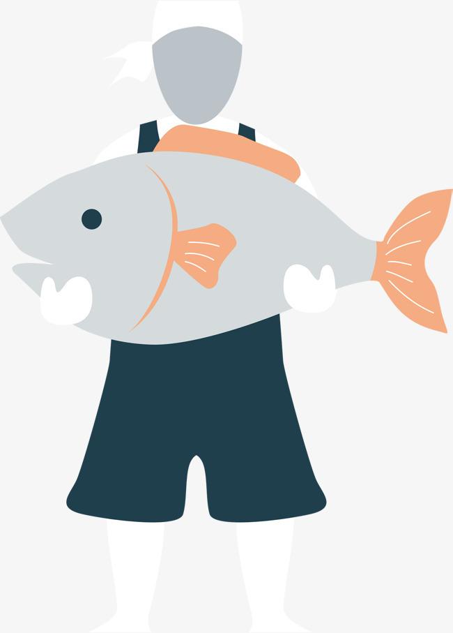 卡通手绘无脸渔夫