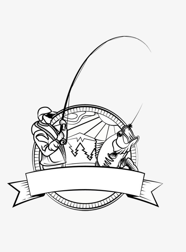 卡通手绘黑白渔夫png素材下载_高清图片png格式(编号