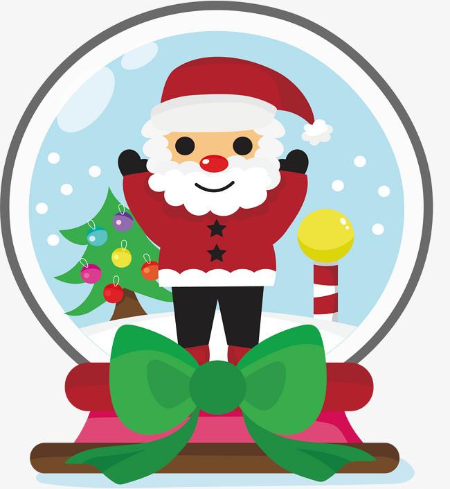 开心的圣诞老人水晶球图片