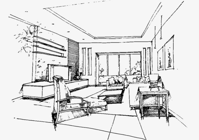 室内效果手绘线稿图