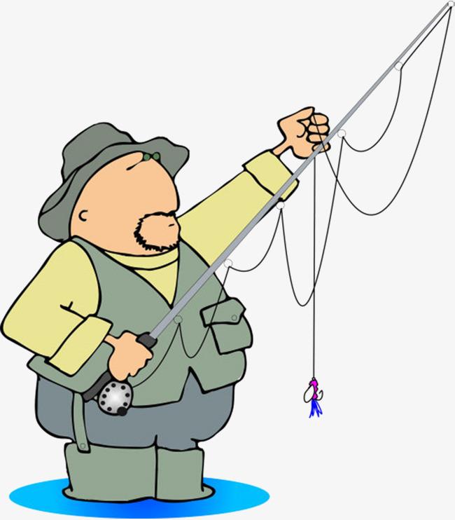 卡通手绘大胖子钓鱼渔夫
