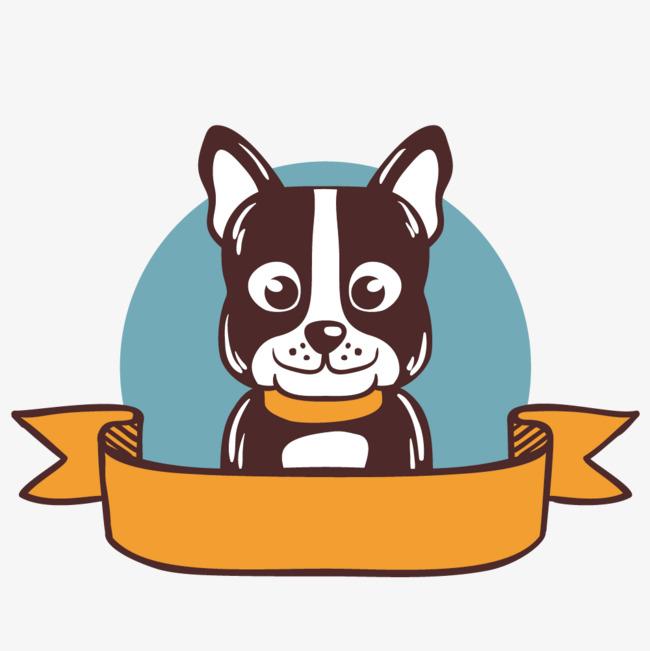 水彩手绘的小狗标签