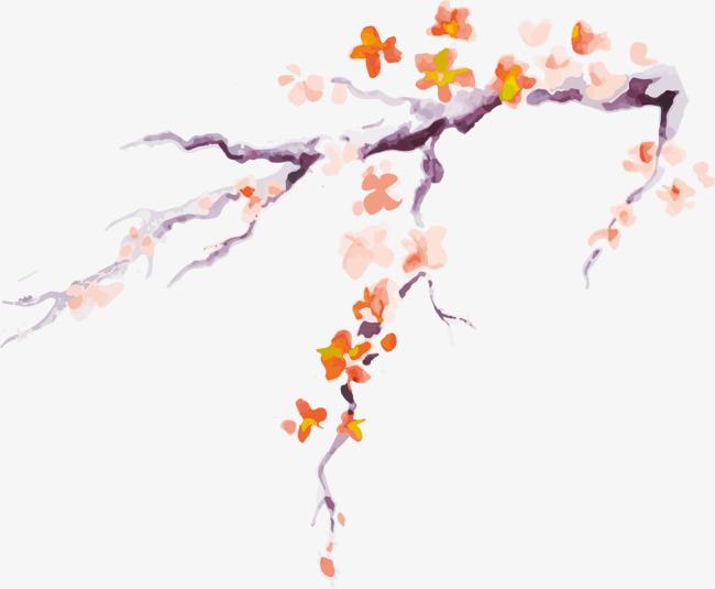 彩色手绘梅花装饰