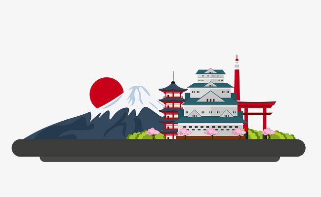 手绘富士山