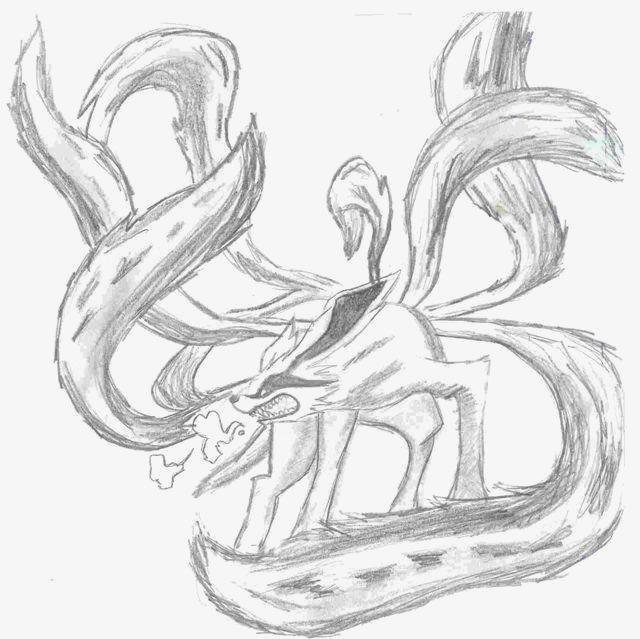 手绘九尾狐