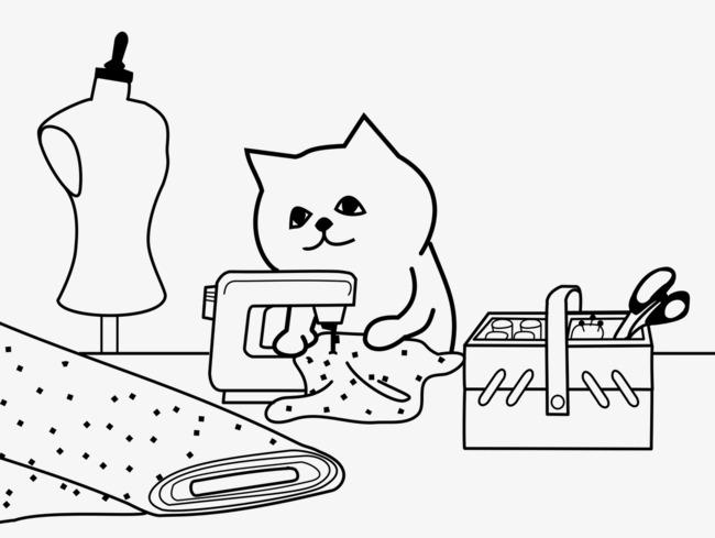 手绘卡通缝纫机装饰