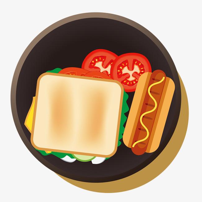 面包热狗蔬菜手绘图