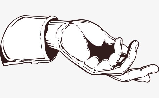 黑色的手绘线条手势