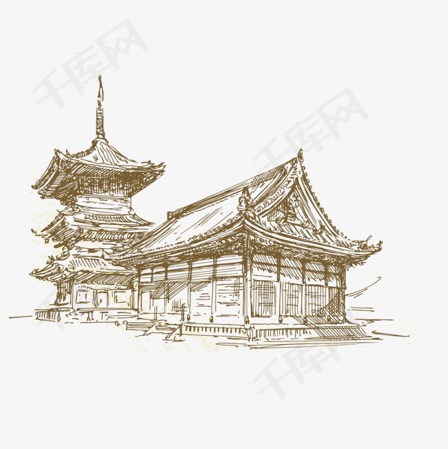 卡通手绘古代建筑屋古代古老的建筑房屋卡通手绘卡通插图-卡通手绘
