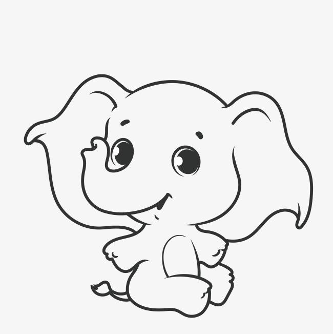 素描简笔线条大象