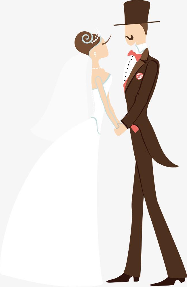 卡通手绘新郎新娘