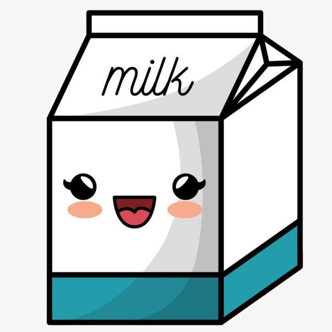 手绘卡通可爱牛奶盒