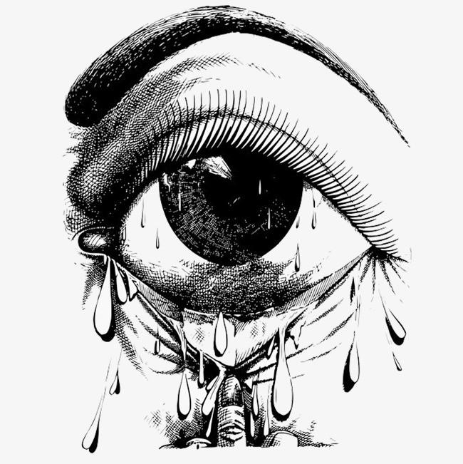 手绘长睫毛眼睛落泪环境恶化