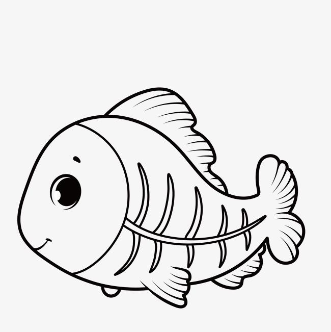 手绘简笔可爱小鱼