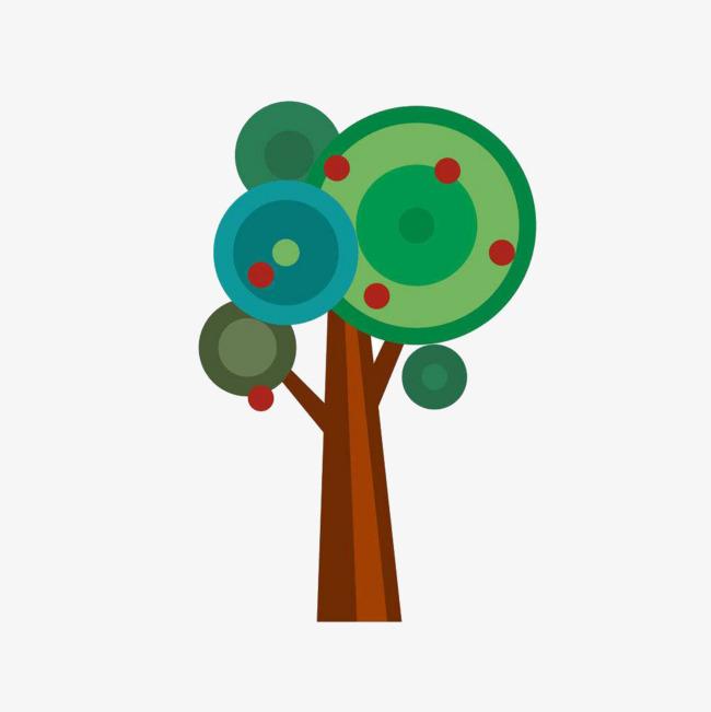 手绘卡通简易果园苹果树图案