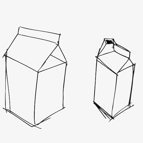 简笔线条手绘牛奶盒
