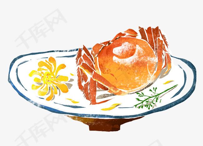 彩绘盘子里的大闸蟹素材图片免费下载 高清png 千库网 图片编号9400751