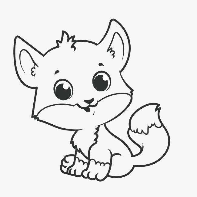 手绘卡通线描小猫咪