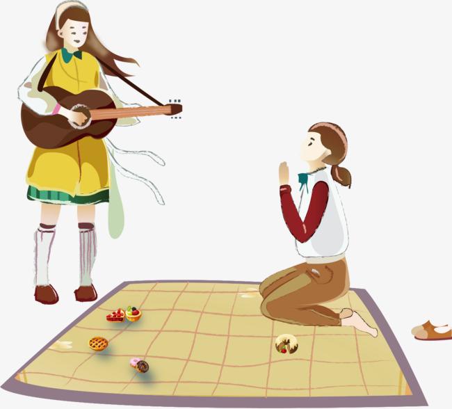 弹吉他的手绘女人