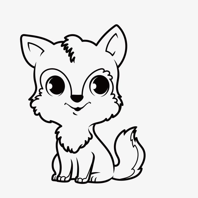 手绘简笔可爱狐狸