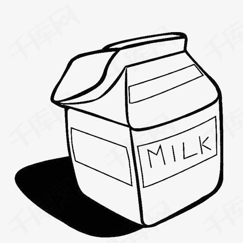 牛奶盒手绘简笔画黑白简笔牛奶盒黑白画手绘卡通牛奶乳制品包装盒牛奶包装盒子手绘牛奶盒
